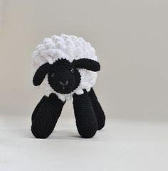 Crochet Sheep  Wool Lamb  Black and White by SnowFallStudio, $29.00