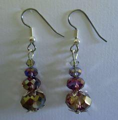 Earrings Multitone purple Swarovski Crystal dangle by Shabyas, $7.88