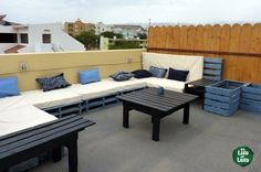 Pallet Outdoor Furniture Pallets Terrace in pallet furniture outdoor with Terrace Recycled Pallets Outdoor - Tables, sofas, loungers, boxes for plants Pallet Picnic Tables, Pallet Lounge, Pallet Seating, Pallet Patio, Pallet Bar, Pallet Sectional, Pallet Walls, Outdoor Pallet, Pallets Garden