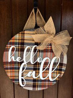 Fall Wreath Fall Door Hanger Hello Fall Fall Door Decor image 1 But Chevron Burlap, Burlap Bows, Burlap Wreaths, Diy Fall Wreath, Fall Wreaths, White Wreath, Wreath Ideas, Fall Door Hangers, Plaid Decor
