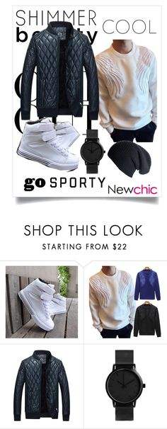 """Newchic 18"" by esma-osmanovic ❤ liked on Polyvore featuring Oui, Black, men's fashion and menswear"
