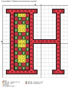 alfabeto minuscolo decorato a quadretti H