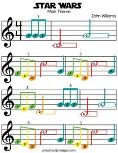 Learn Piano Sheet Music Star Wars (Main Theme) Sheet Music in C Major for Chromanotes Boomwhackers and Deskbells - Teach your child how to play preschool songs with our free sheet music! Good for boomwhackers, hand signing, singing and more! Trumpet Sheet Music, Clarinet Sheet Music, Violin Music, Recorder Music, Music Music, Soul Music, Easy Violin Sheet Music, Keyboard Sheet Music, Keyboard Piano