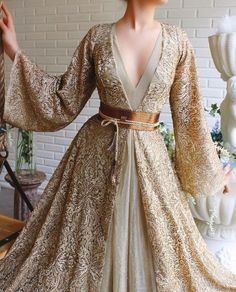 Material: Polyester Silhouette: A-Line Dress Length: Floor-Length Sleeve Length: Long Sleeve Sleeve Type: Regular Neckline:. Pretty Dresses, Beautiful Dresses, Elegant Dresses, Fantasy Gowns, Mode Inspiration, Mode Style, Dream Dress, Designer Dresses, Ball Gowns