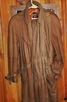 Tannery West Men's Genuine Leather Trench Coat, long, brown, size M, lined