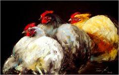 Hens . Pastel on paper  34 x 48 cm
