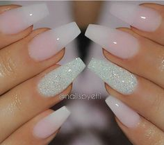 Nude and sparkle nails