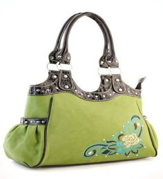 Green Flower Accent Purse - Handbags, Bling & More!