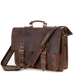 A classic double pocket leather briefcase that makes for a terrific business companion. Durable with sturdy structure that supports all of your business work. Briefcases, Types Of Bag, Leather Briefcase, Classic Leather, Messenger Bag, Satchel, Pocket, Brown, Bags