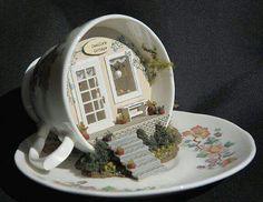 miniature dollhouse fairy garden ~ white pumpkin fairy house ~ new Miniature Crafts, Miniature Fairy Gardens, Miniature Dolls, Miniature Tutorials, Miniature Houses, Teacup Crafts, Fairy Doors, Cute Diys, Miniture Things