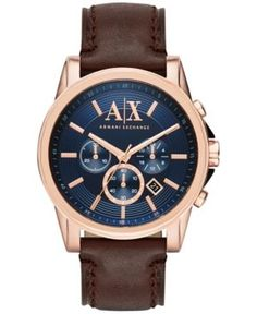 A|X Armani Exchange Men's Chronograph Dark Brown Leather Strap Watch 45mm AX2508 - Brown