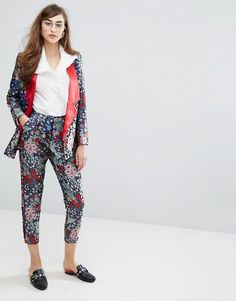 Jacquard print suit ASOS red floral cropped pants and blazer jacket. Spring Summer 2017 women's fashion style + shopping