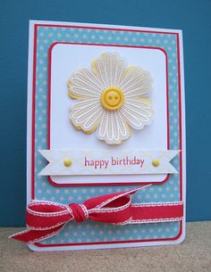 handmade card ... blue and white with yellow and red accents ... like this  layout ... white embossed vellum Mixed Bunch flower over solid yellow one ... Stampin' Up!