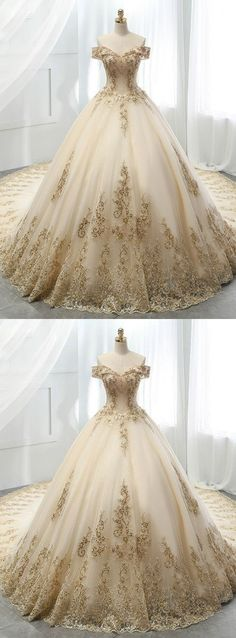 Tight Prom Dresses, Champagne Ball Gown Tulle Gold Lace Appliques Wedding Dress Yonkers Bridal - New Ideas Western Wedding Dresses, Dream Wedding Dresses, Bridal Dresses, Tulle Wedding, Gold Wedding Gowns, Wedding Dress With Gold, Wedding White, White And Gold Dresses, Ball Gown Wedding