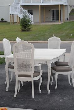 Shabby Chic Vintage Thomasville Dining Room Table And 6 Cane Back Chairs