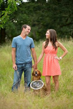 Engagement photo with your dog. I would write save the date instead of she said yes though!