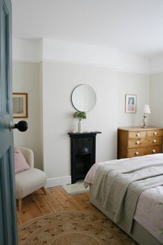 Creating a tranquil bedroom – Apartment Apothecary. A bedroom with original fireplace. Apartment Therapy, Bedroom Apartment, Home Decor Bedroom, 1930s Bedroom, Modern Victorian Bedroom, Victorian Terrace House, 1930s House Interior, 1930s House Renovation, Tranquil Bedroom