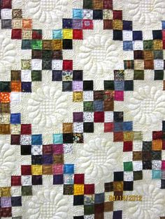 Ruth McCormick says: 8/30/2012 I made the Irish Chain quilt above and quilted it on my Statler Stitcher. It has won a blue ribbon at the OCQG 2012 judged show and Viewer's Choice at the 2011 CAMEO Quilt Show