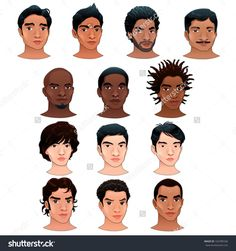 Indian, Black, Asian And Latino Men. Vector Isolated Avatars. - 163785536 : Shutterstock