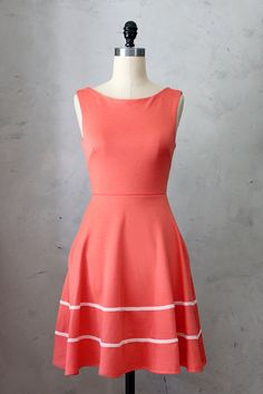COQUETTE CORAL - Pink orange dress with pockets // ponte knit // fit and flare // bridesmaid // vintage inspired // day // retro // pinup