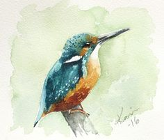 It is time for another Sunday Watercolors post. This time I have a Kingfisher for you! So fun to paint with its bright beautiful colors! Arches Watercolor Paper, Watercolor Bird, Watercolor Paintings, Watercolours, Kingfisher Bird, Acrylic Painting Lessons, Bird Artwork, Backyard Birds, Art Sketchbook