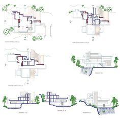 casa sulla cascata - Frank Lloyd Wright 2D dwg