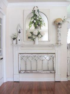 Fabulous Mantel with Repurposed Window!