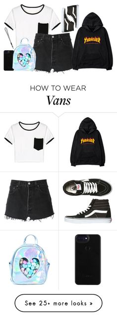 """HXC"" by blissfulchapters on Polyvore featuring WithChic, RE/DONE, Vans and Sugarbaby"