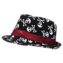 SODIAL (R) pour enfant bébé garçons filles Casquette Fedora Hat–Noir avec motif tête de mort