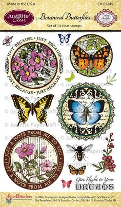 "JustRite Papercraft Botanical Butterflies 4"" x 6"" clear stamp set designed by Amy Tedder"