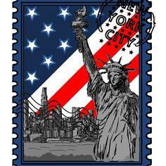 New York City Stamp - USA Flag Framed Prints, Canvas Prints, Art Prints, Cool Stickers, Usa Flag, Art Boards, New York City, Stamps, Middle