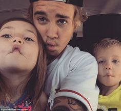 Suck in those cheeks! Justin Bieber shared a cute fish-face Instagram snap with his young ...
