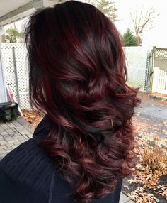 Hairstyles:Red purple ombre hair color captivating 45 shades of burgundy hair dark burgundy maroon Dark Burgundy Hair Color, Burgundy Balayage, Black Hair With Highlights, Dark Red Hair, Hair Color Highlights, Ombre Hair Color, Hair Color For Black Hair, Red Purple, Black Cherry Hair Color