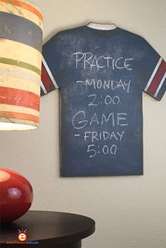 Boys (again with the sexism) sports room decorDIY- Do it yourself Vintage Sports Jersey Chalkboard. The project has a recipe for home-made chalkboard paint. This could be tailored to whatever activity the kids get into. Like music, perhaps. :3