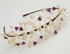 Bella Bridal Side Tiara Ivory Pearl Cluster by jewellerymadebyme, £120.00
