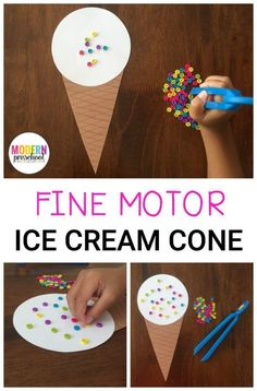 Preschoolers can strengthen fine motor skills while adding pretend sprinkles to a yummy ice cream cone treat in this super simple homemade activity! Extra challenges are in the post. Motor Skills Activities, Gross Motor Skills, Preschool Crafts, Toddler Activities, Preschool Activities, Crafts For Kids, Physical Activities, Dementia Activities, Food Crafts