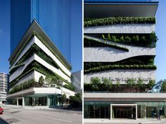 18 Kowloon East, by aedas: a glass tower rests on a base of undulating greenery - a parkade surrounded by trees and plant. Good times.