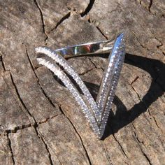 Description: Sterling silver chevron ring with CZ. I Love Jewelry, Jewelry Gifts, Fine Jewelry, Chevron Ring, Lady Fingers, Ruby Pendant, Ruby Rings, Imitation Jewelry, Anniversary Rings