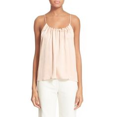 Helmut Lang Ruched Silk Tank ($320) ❤ liked on Polyvore featuring tops, nude, pink tank top, nude tank top, ruched top, ruched tank top and scoopneck tank