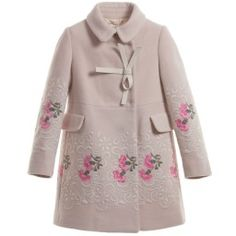 I Pinco Pallino Pink Wool Cashmere Embroidered Coat. So girly girl. Perfect for a princess. Little Dresses, Little Girl Dresses, Girls Dresses, Childrens Coats, Kids Coats, Little Girl Fashion, Kids Fashion, Little Girls Coats, Moda Kids