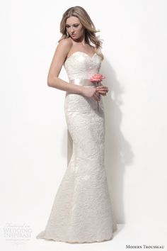 modern trousseau spring 2014 bridal demi strapless beaded lace fit flare wedding dress