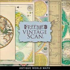 New Freebies Kit of Antique World Maps from Far Far Hill