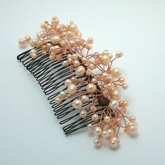 freshwater pearl - peach, crystals, jewelry wire, black hair comb
