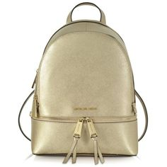 Michael Kors Rhea Zip Pale Gold Medium Backpack found on Polyvore featuring bags, backpacks, bolsas, metallic backpack, backpack bags, michael kors, pocket backpack and zipper backpack