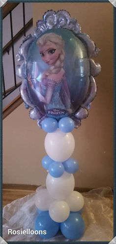 rosielloons Frozen Balloon Decorations, Frozen Balloons, Balloons And More, Balloon Stands, Balloon Display, Love Balloon, Balloon Arrangements, Balloon Centerpieces, Frozen Theme Party
