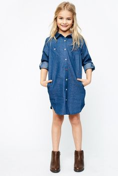Embroidered Back Chambray Shirt Dress - Girls Clothing & Fashion - Hayden Girls