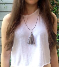 Hemp tassel necklace, talk about going green. A personal favorite from my Etsy shop https://www.etsy.com/listing/463267430/dark-green-hemp-tassel-necklace