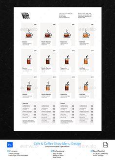 Coffee Glass and Cup Vector Menu Design - Food Menus Print Templates Menu Restaurant Design, Cafe Menu Design, Food Menu Design, Food Poster Design, Restaurant Restaurant, Menu Café, Menu Flyer, Menu Book, Lunch Menu