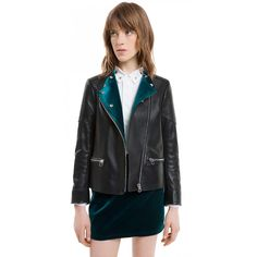Sandro Vitaa Inverted Velvet Leather Jacket