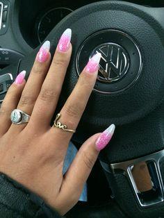 My beautiful pink white glitter nails!